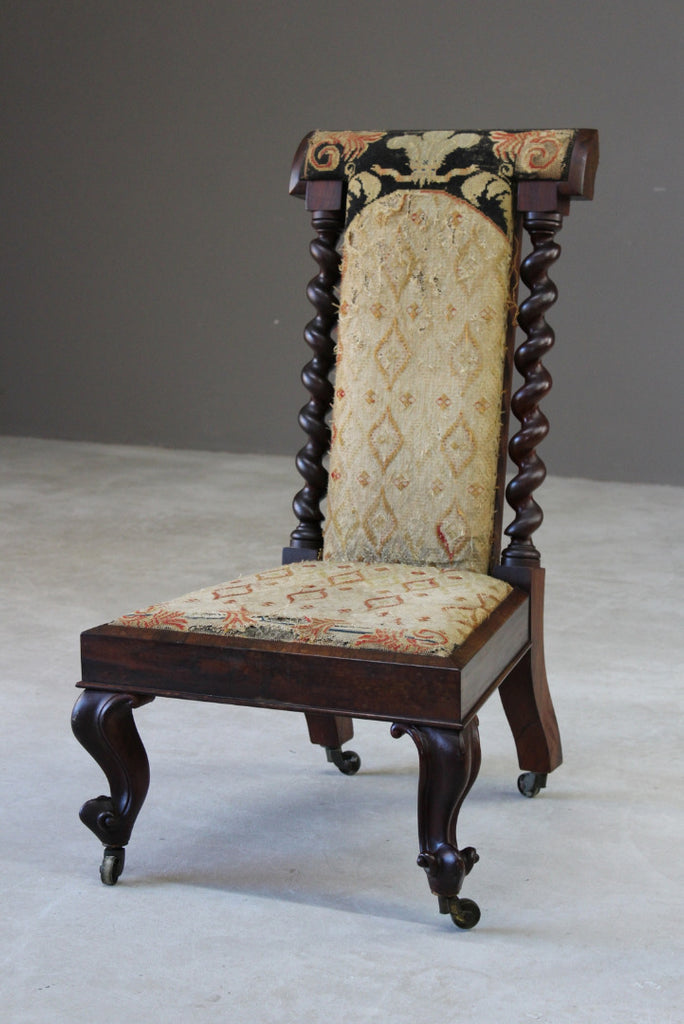 Victorian Rosewood Prayer Chair - Kernow Furniture