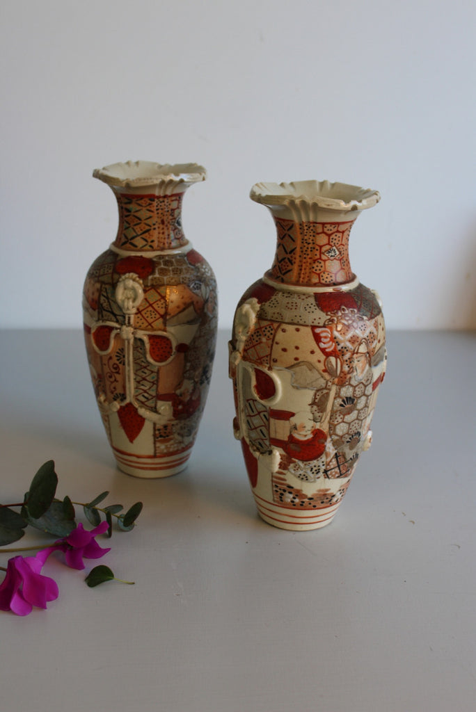 Pair Japanese Satsuma Vases - Kernow Furniture