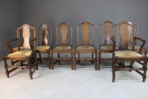8 Country Style Rustic Oak & Rush Dining Chairs