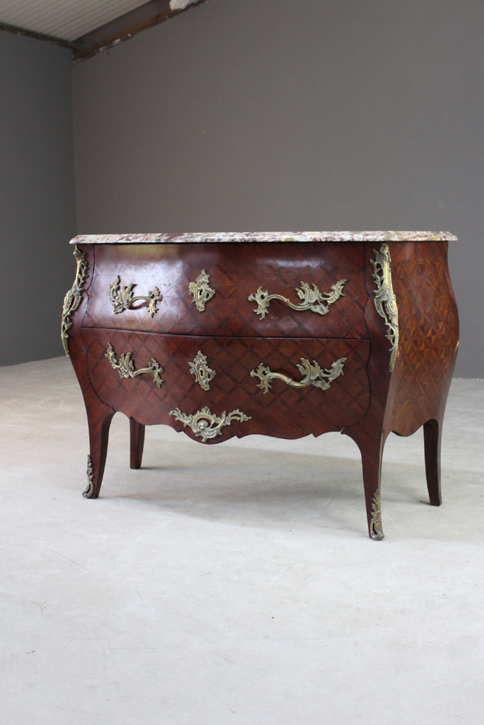 French Marble Bombe Commode Chest Drawers - Kernow Furniture
