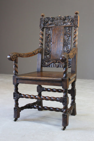 Victorian Carved Oak Open Arm Chair