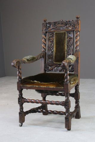Antique Carved Oak Open Arm Chair