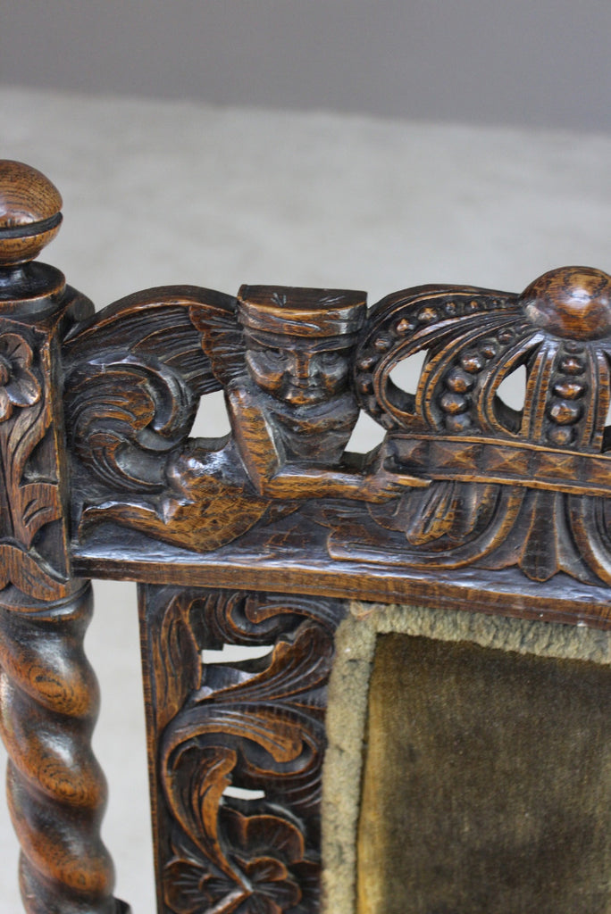 Antique Carved Oak Open Arm Chair - Kernow Furniture