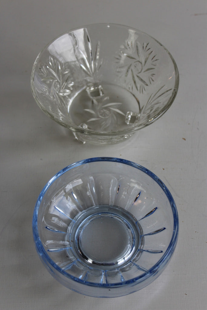 Vintage Blue & Plain Glass Small Bowls