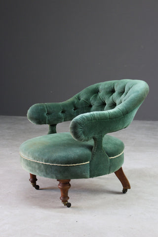 Victorian Upholstered Green Tub Chair