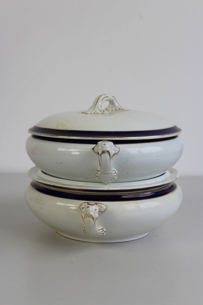 Pair Pearl Pottery Hanley Blue & White Tureen - Kernow Furniture