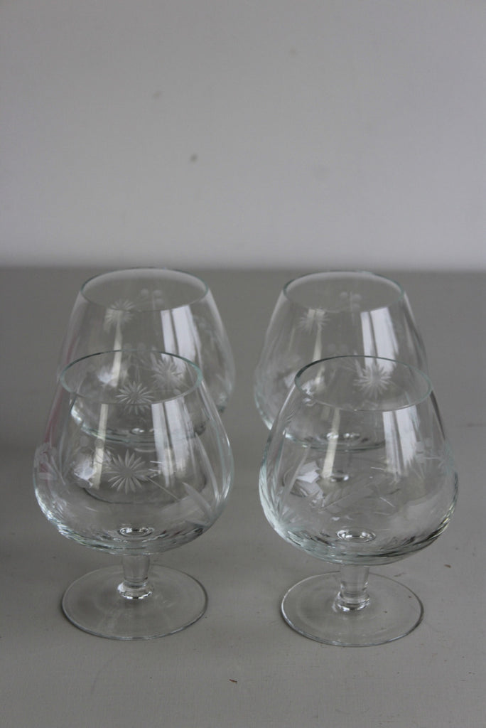 4 Etched Glass Brandy Balloon Snifter - Kernow Furniture