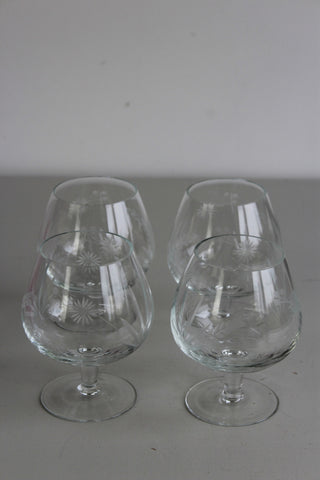 4 Etched Glass Brandy Balloon Snifter