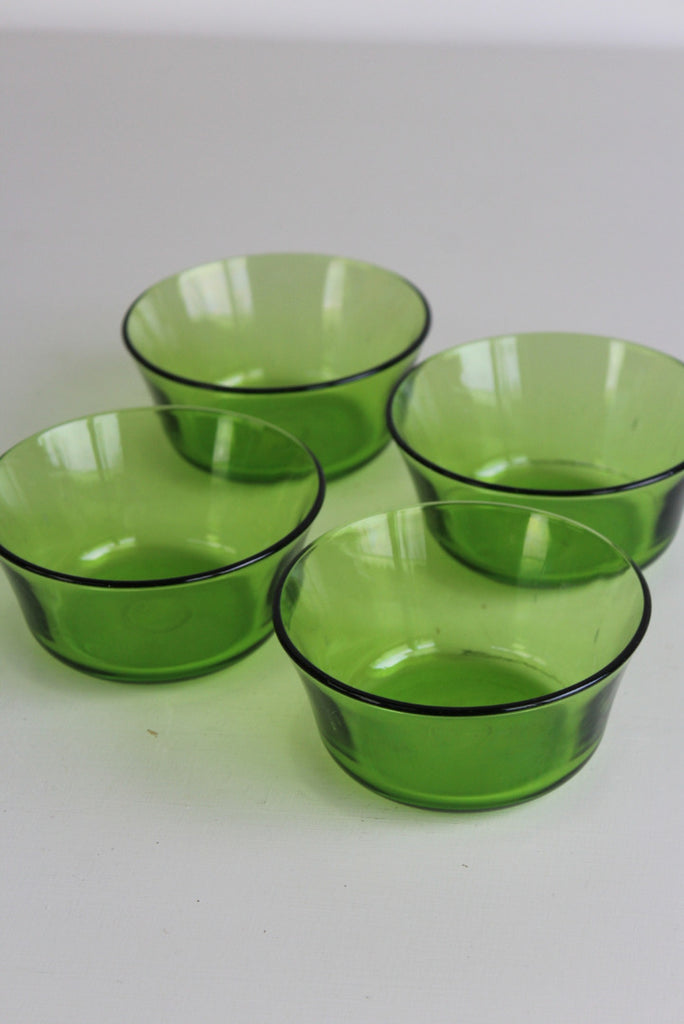 4 Retro Green Glass Dessert Bowls - Kernow Furniture