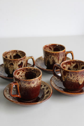 4 Fosters Pottery Cups & Saucers