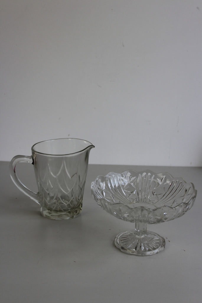Vintage Glass Bon Bon Dish & Jug - Kernow Furniture
