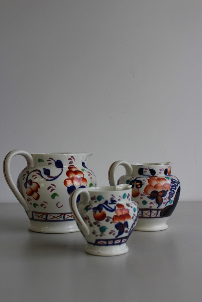3 Allertons Gaudy Welsh Oyster Pattern Jugs - Kernow Furniture