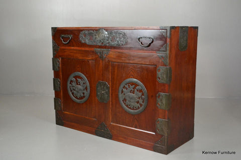 Antique Korean Camphor Wood Cabinet Sideboard - Kernow Furniture 100s vintage, retro & antique items in stock