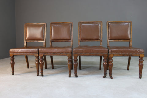 4 Antique Oak & Leather Dining Chairs