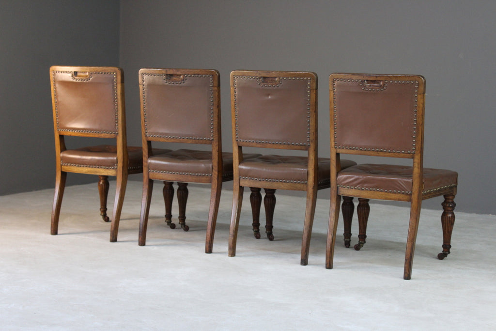 4 Antique Oak & Leather Dining Chairs - Kernow Furniture