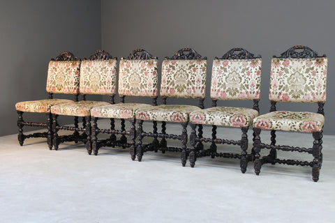 6 Victorian Carved Oak Upholstered Dining Chairs