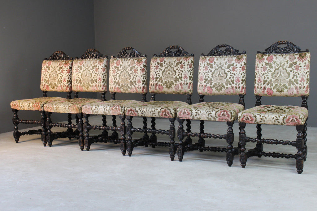 6 Victorian Carved Oak Upholstered Dining Chairs - Kernow Furniture