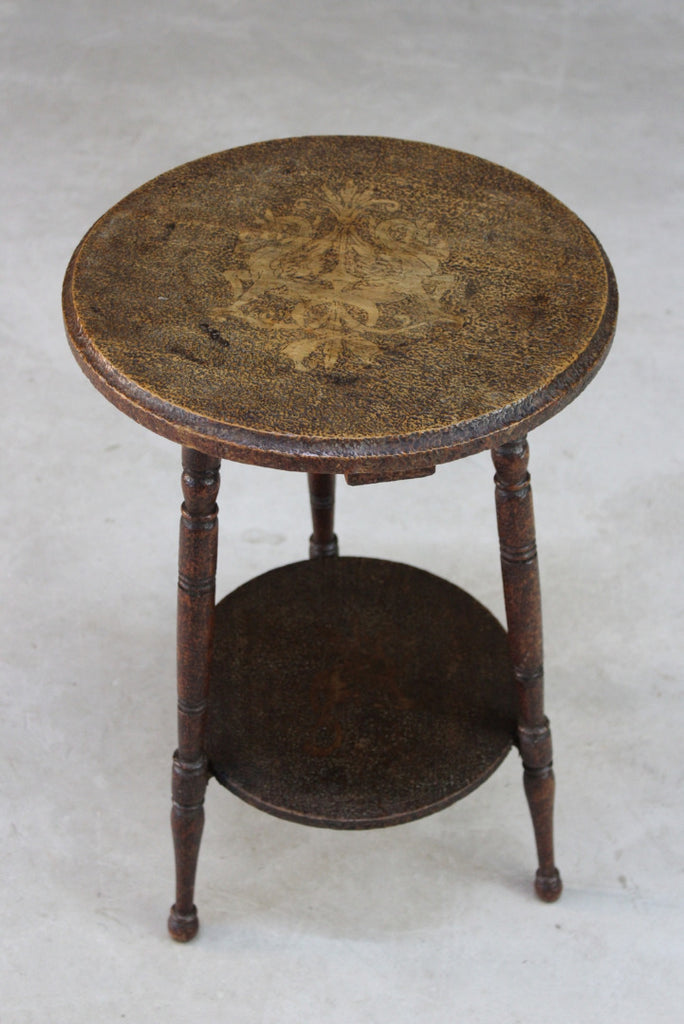 Arts & Crafts Pyrographic Poker Work Occasional Table - Kernow Furniture