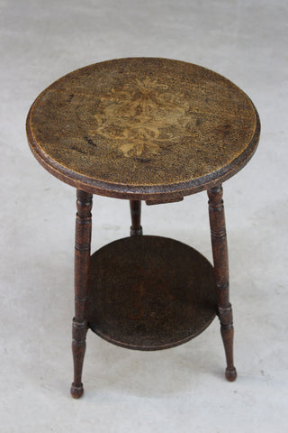 Arts & Crafts Pyrographic Poker Work Occasional Table