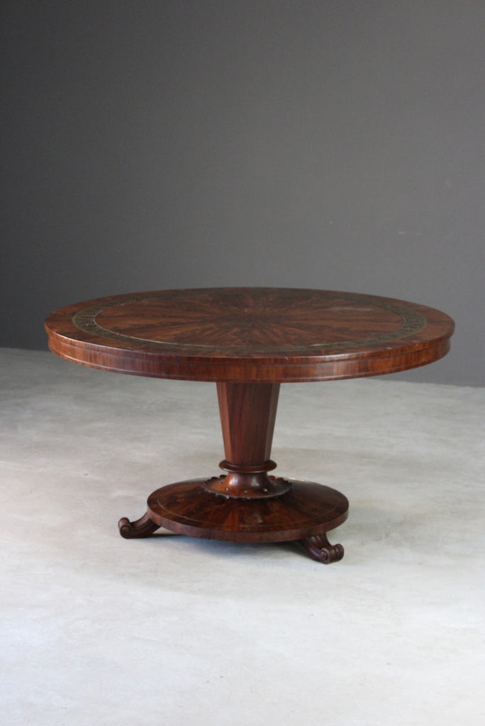 Antique Regency Mahogany & Brass Inlaid Breakfast Table - Kernow Furniture