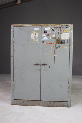 Retro Metal Office Cupboard Cabinet - Kernow Furniture