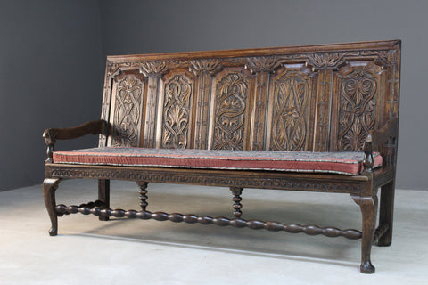 Antique 18th Century Carved Oak Bench Settle
