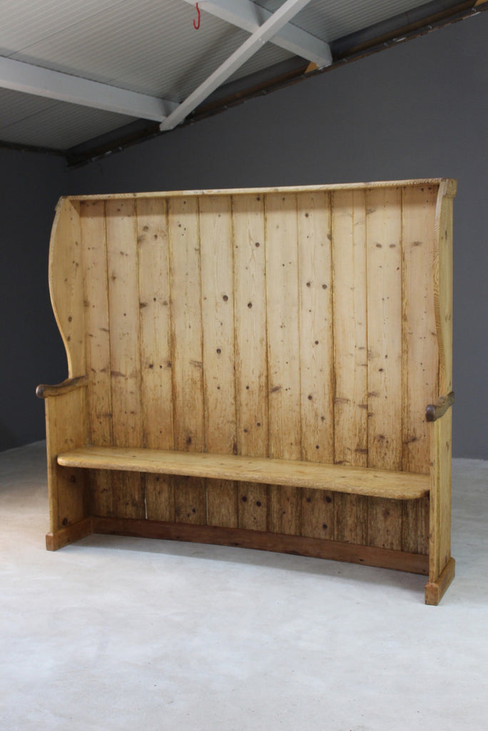 Large Rustic Pine Tavern Settle