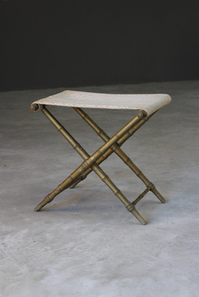 Simulated Bamboo Gilt Wood Stool