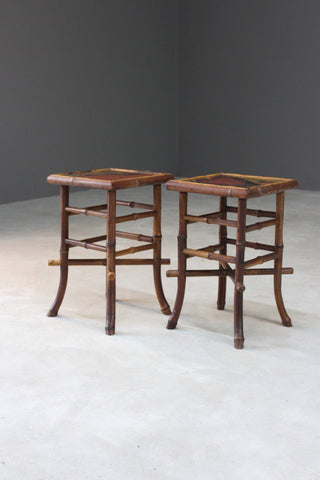 Pair Victorian Bamboo Side Tables - Kernow Furniture