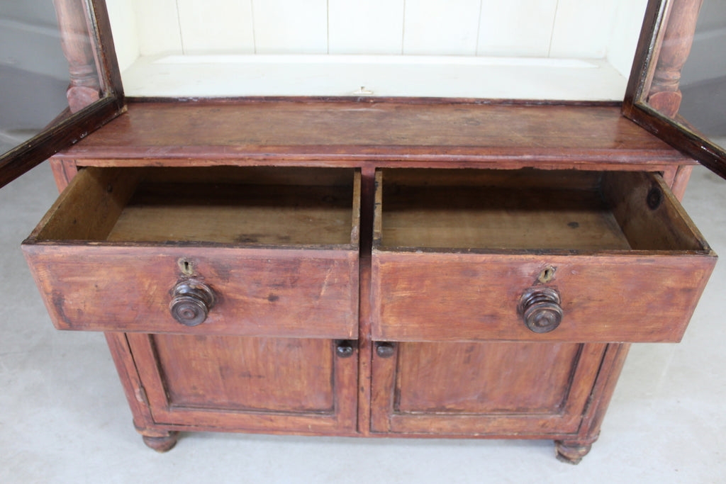Rustic Stained Pine Glazed Dresser - Kernow Furniture