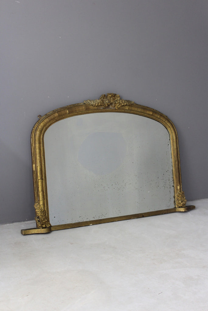 Antique Gilt Overmantle Mirror - Kernow Furniture