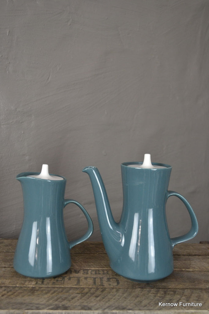 Poole Pottery Blue Moon Coffee Pot & Water Jug - Kernow Furniture 100s vintage, retro & antique items in stock