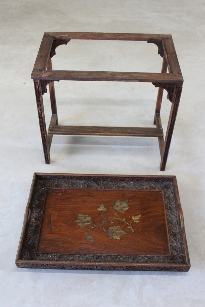 Indian Carved Teak Tray on Stand - Kernow Furniture