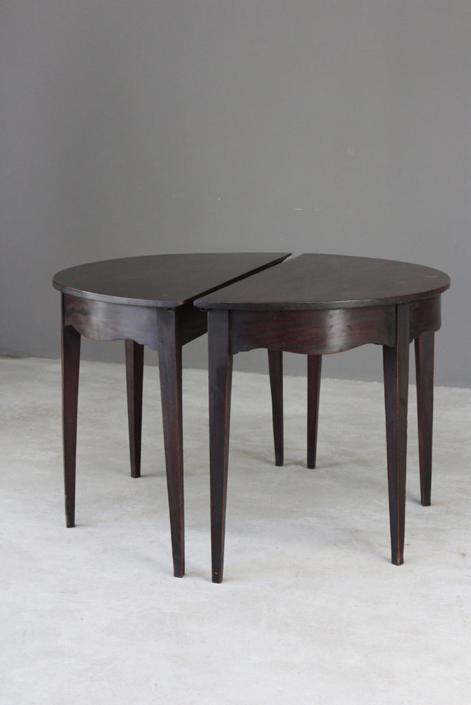 Pair Georgian Mahogany D End Side Tables - Kernow Furniture