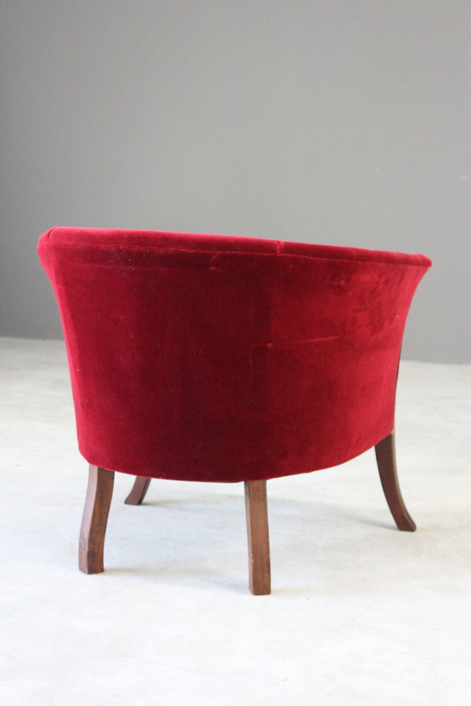 Edwardian Red Upholstered Tub Chair - Kernow Furniture