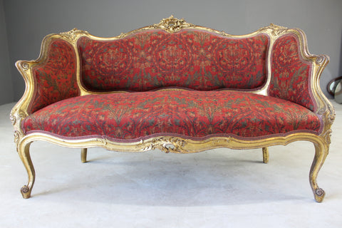 French Louis XV Style Vintage Painted Frame Needlepoint Settee Loveseat