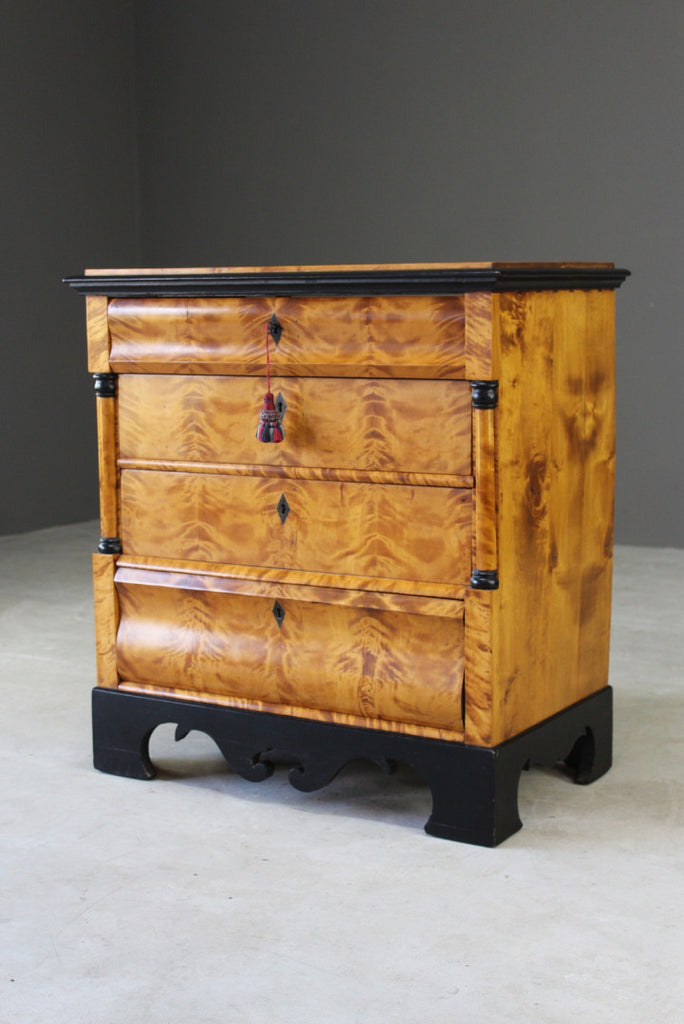 Antique Biedermeier Satin Sycamore Chest - Kernow Furniture