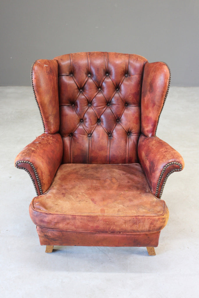 Brown Leather Button Back Chair - Kernow Furniture