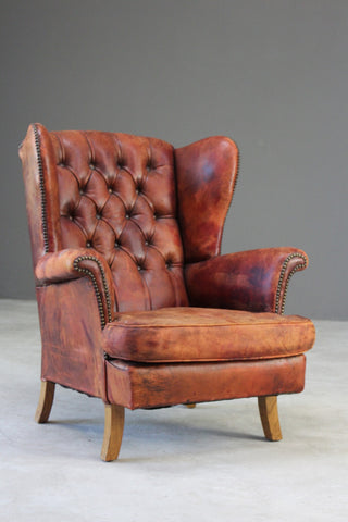 Brown Leather Button Back Chair