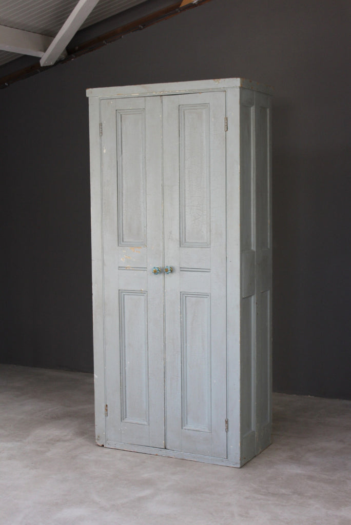 Vintage Painted Pine Hall Robe Cupboard