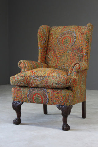 Antique Paisley Upholstered Wing Armchair