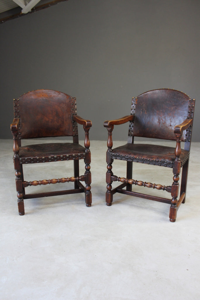 Pair Oak & Leather Carver Chairs - Kernow Furniture