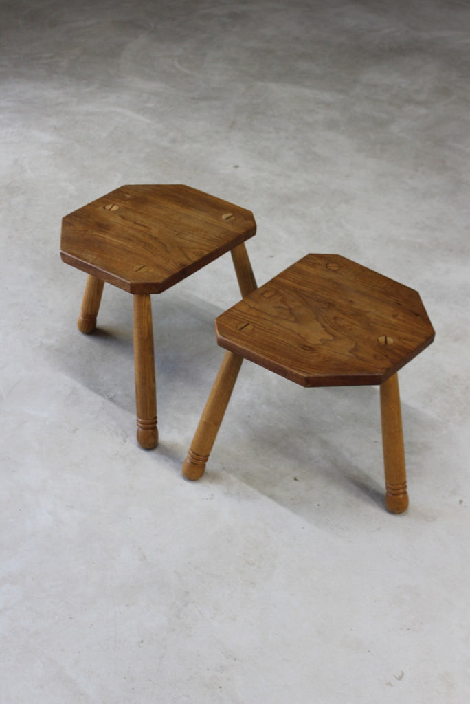 Pair Vintage Elm Milking Stools - Kernow Furniture