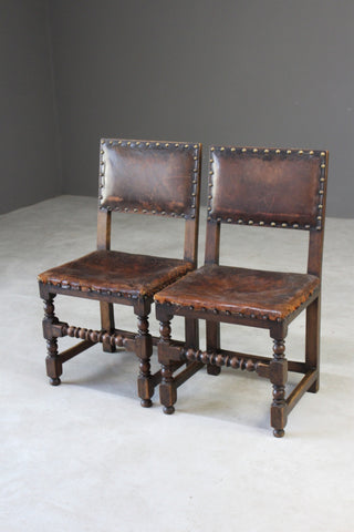 Pair Oak & Leather Dining Chairs