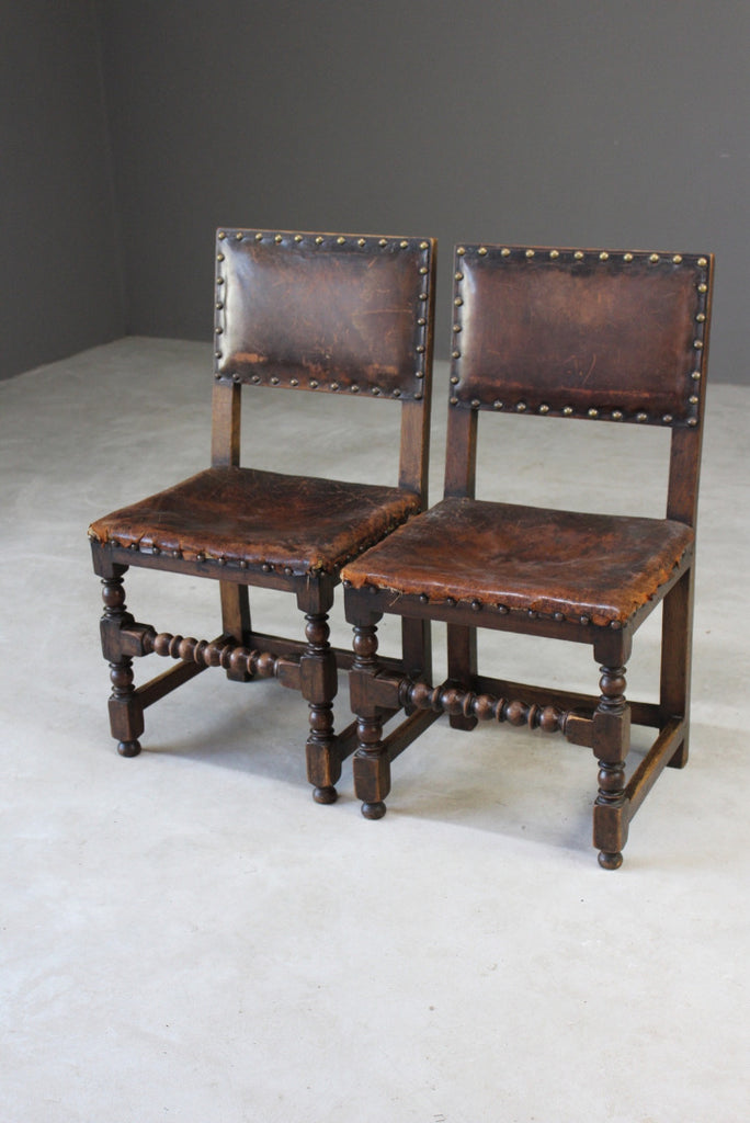 Pair Oak & Leather Dining Chairs - Kernow Furniture