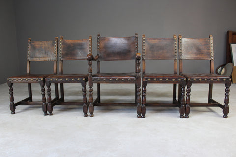 4 Oak & Brown Leather Dining Chairs & Single Carver