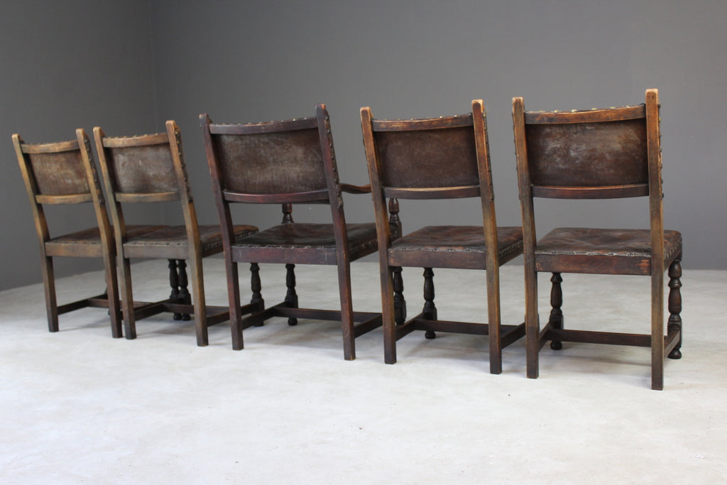 4 Oak & Brown Leather Dining Chairs & Single Carver - Kernow Furniture