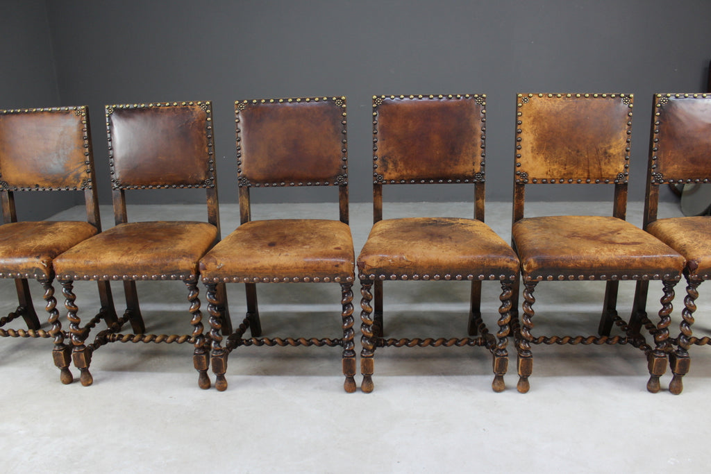 Set 6 Oak & Leather Dining Chairs - Kernow Furniture