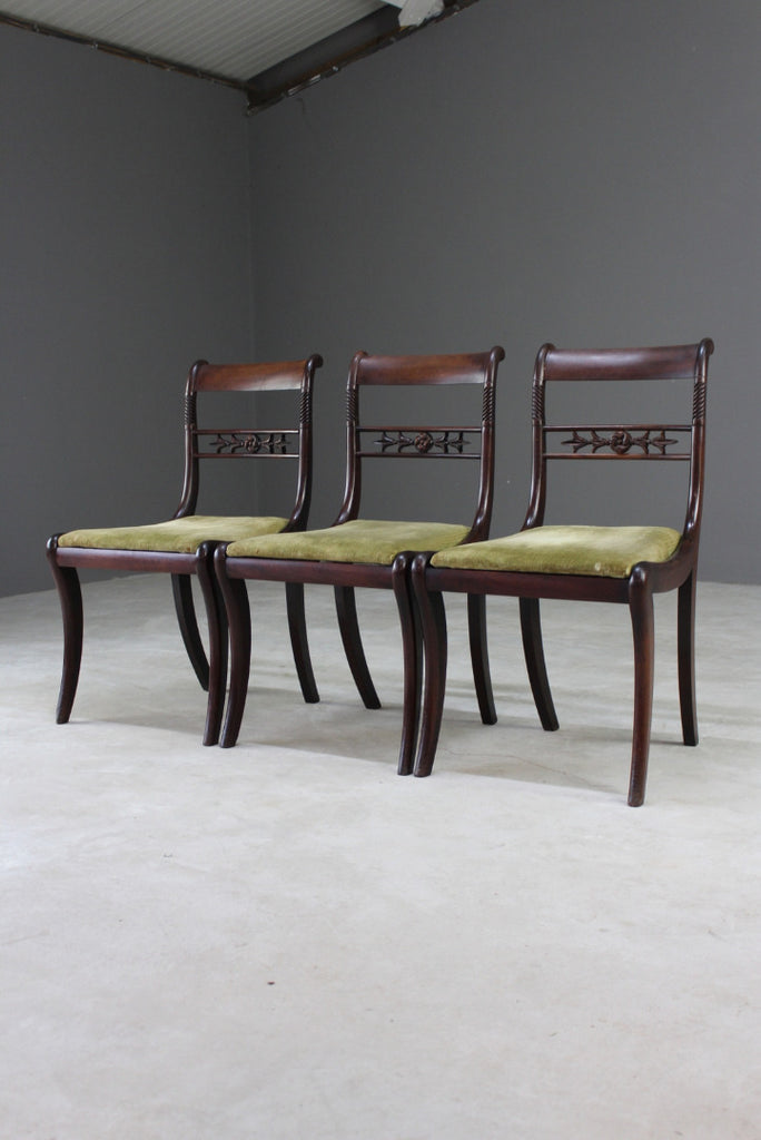 Three 19th Century Mahogany Dining Chairs - Kernow Furniture