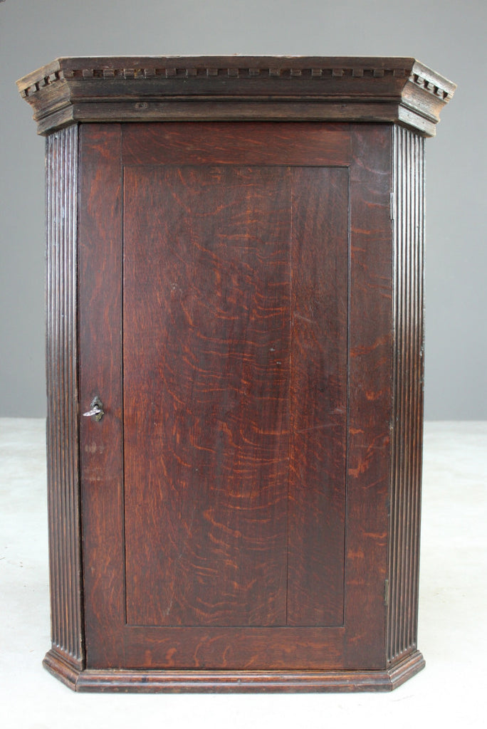 Rustic Antique Oak Corner Cupboard - Kernow Furniture